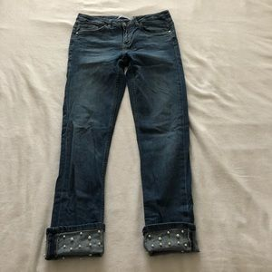 Zara cropped ankle pearl jeans